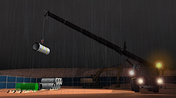 CYBERQUIP Mobile Crane SImulator - Pipe Unloading Night