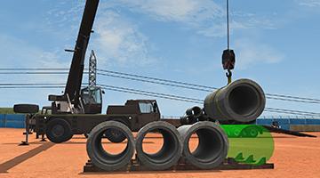 CYBERQUIP Mobile Crane Simulator - Pipe Unloading