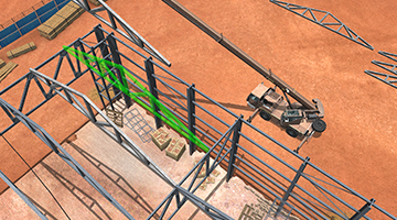 CYBERQUIP Mobile Crane Simulator- Truss Placement Unloading