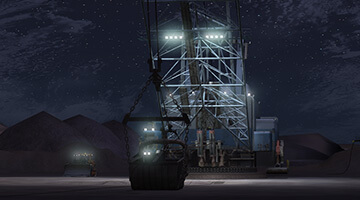Dragline-simulator-night