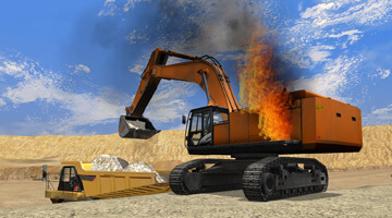 Excavator-simulator-on-fire